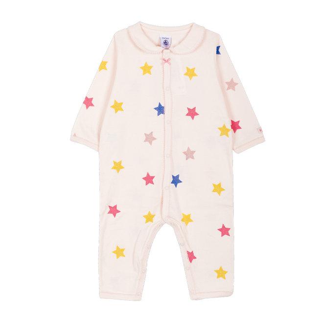 Girls' Snugfit Stars Rib Knit FOOTLESS SLEEPSUIT