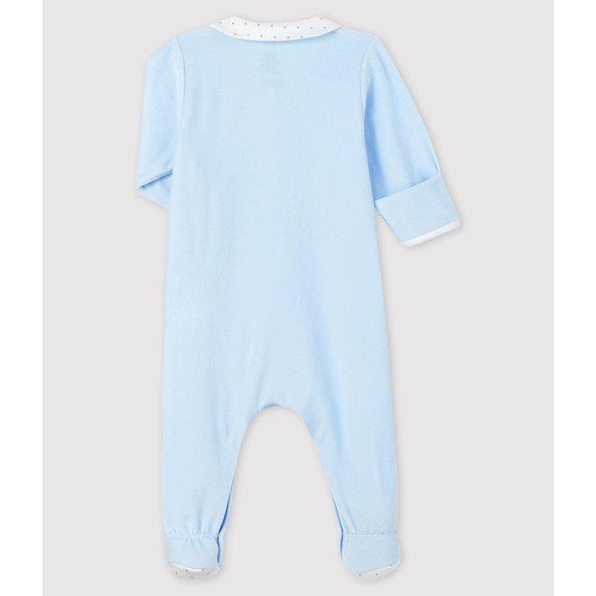 Baby Boys' Blue Velour Sleepsuit with Collar
