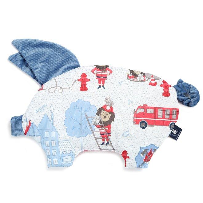 VELVET COLLECTION - SLEEPY PIG PILLOW - BRAVEHEART LION BLUE - DENIM