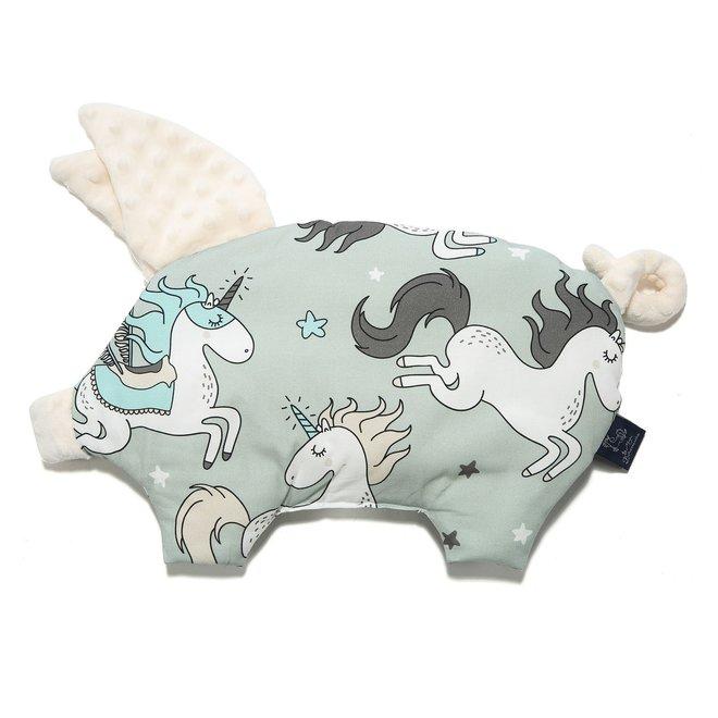 SLEEPY PIG PILLOW - UNICORN RAINBOW KNIGHT - ECRU
