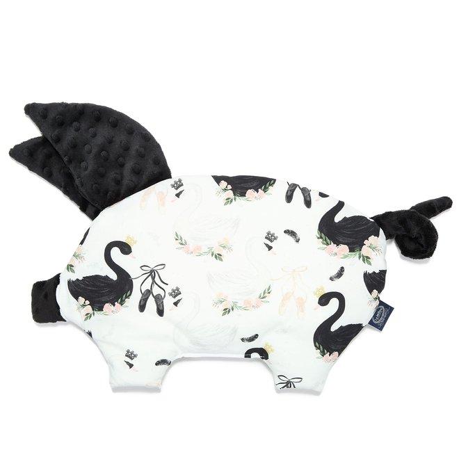 SLEEPY PIG PILLOW - MOONLIGHT SWAN - BLACK