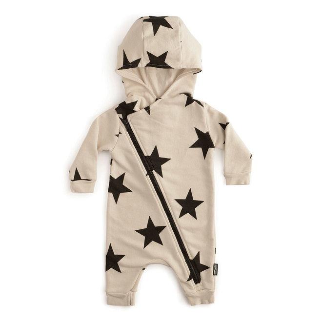 Asymmetrical Zip Star Hooded Overall