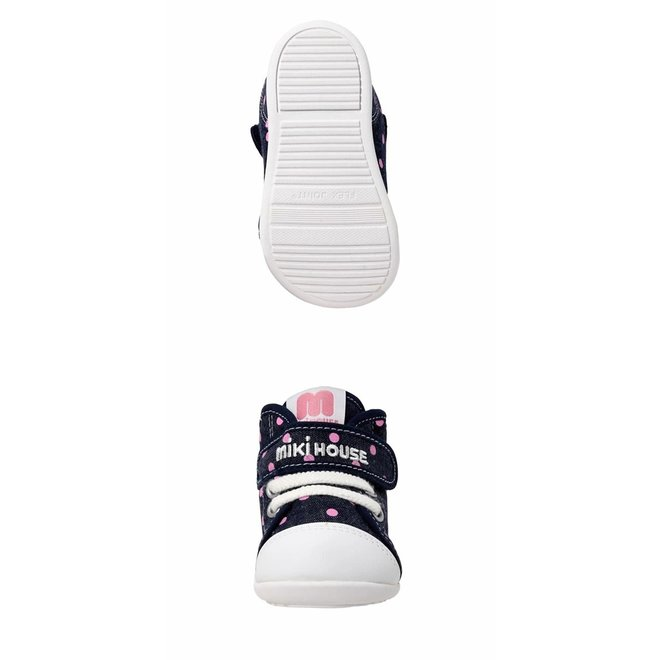 mikihouse baby shoes Navy Dot