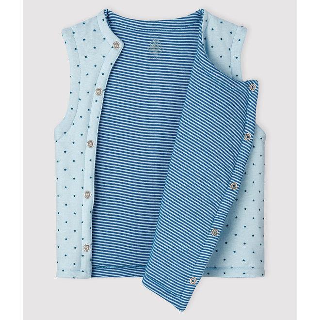 Baby Boys' Blue Reversible Sleeveless Vest in Padded Rib Knit