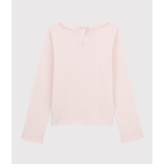 Long Sleeves T-Shirt Pink With Collar