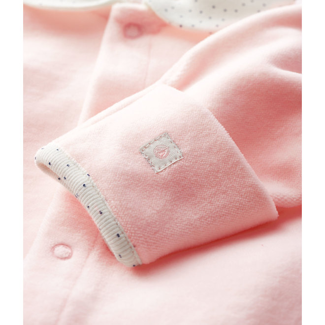 Baby Girls' Pink Velour Sleepsuit With Collar