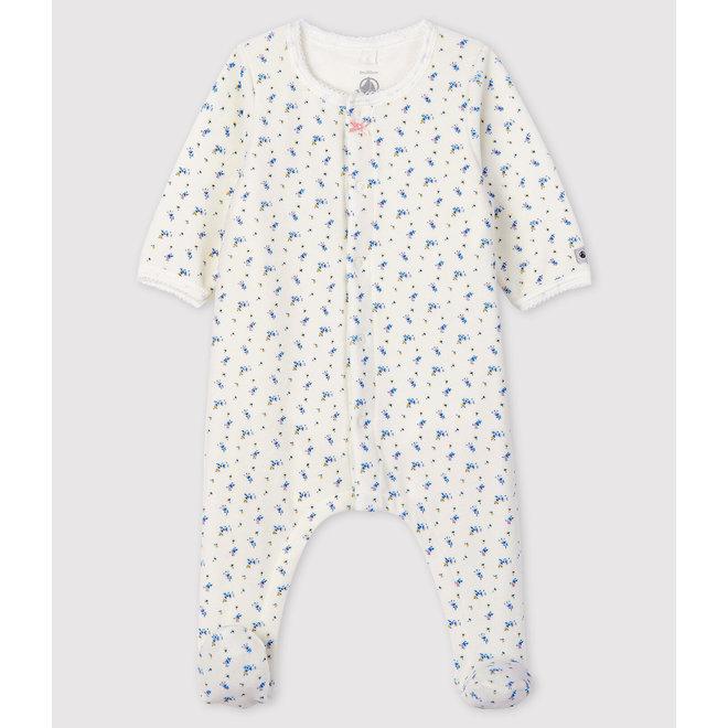 Baby Girls' Floral Print Velour Bodyjama