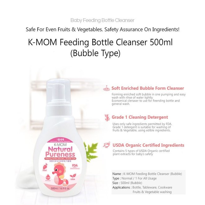 K-Mom Baby Bottle Cleanser Bubble 500Ml Bottle