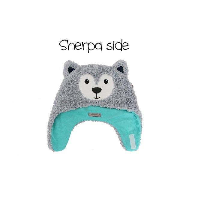 Flapjacks Reversible Sherpa Hat Wolf/SkiGoggles