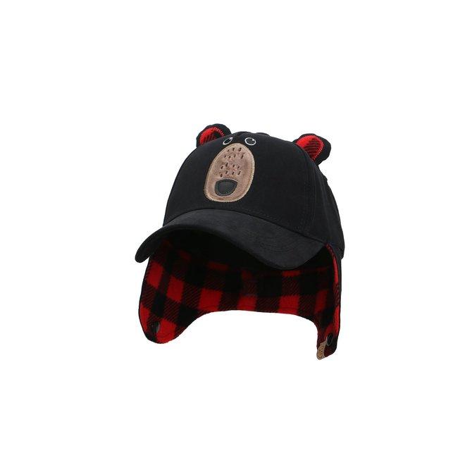 Flapjacks 3D Caps with Earflaps Black Bear