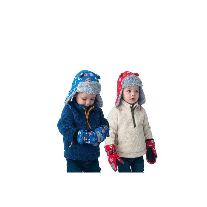 Flapjacks Water Repellent Ski Mittens Monsters Blue