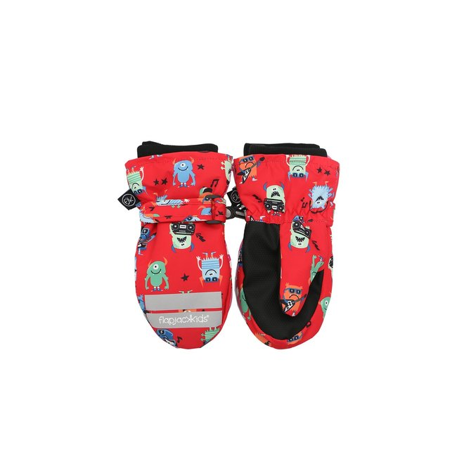 Flapjacks Water Repellent Ski Mittens Monsters Red