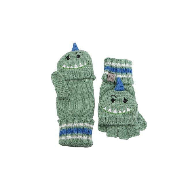 Flapjacks Knitted Fingerless Gloves w/Flap Dino