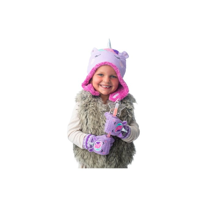 Flapjacks Knitted Fingerless Gloves w/Flap Unicorn