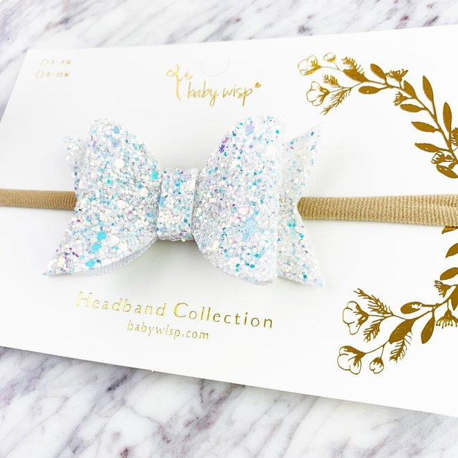 Baby Wisp - Courtney Bow Headband - Snow Glitter 0-18M