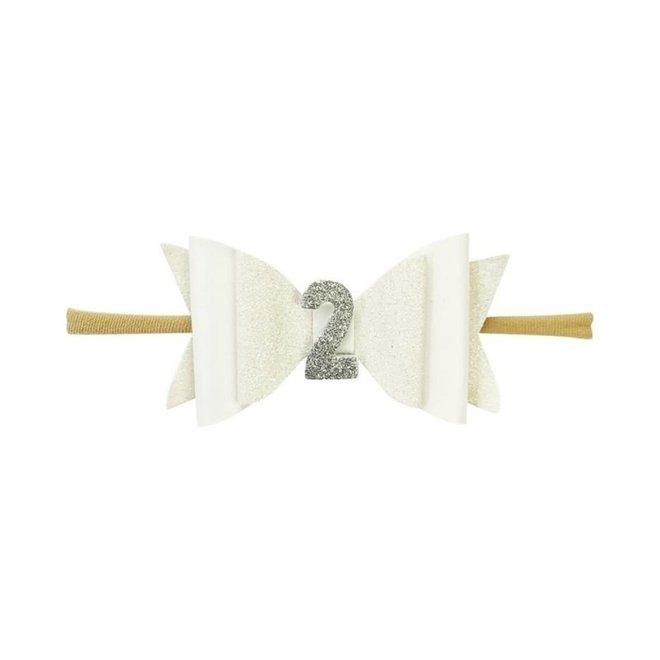 Baby Wisp - Headband - 2nd Birthday - White Glitter 0-18M