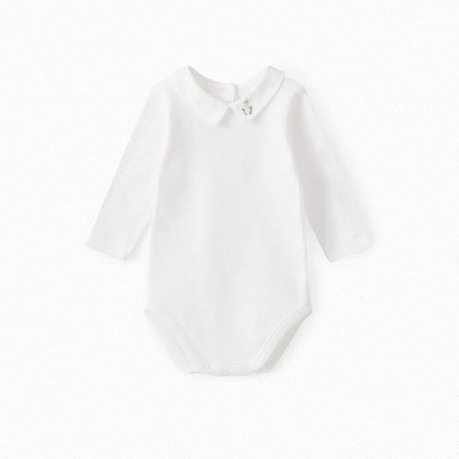 BABY ONESIE WITH EMBROIDERED COLLAR SKY BLUE
