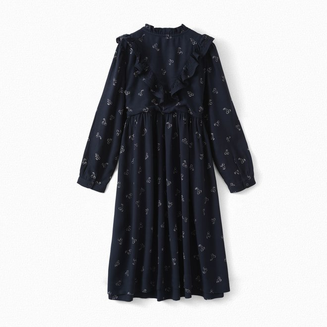 Girls' Printed Crepe Dress Navy