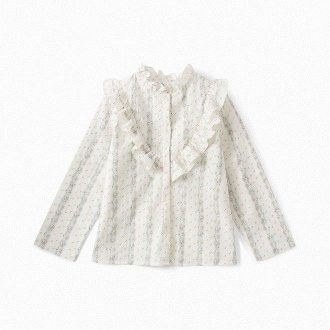 Girls' Embroidered Poplin Shirt Milk White