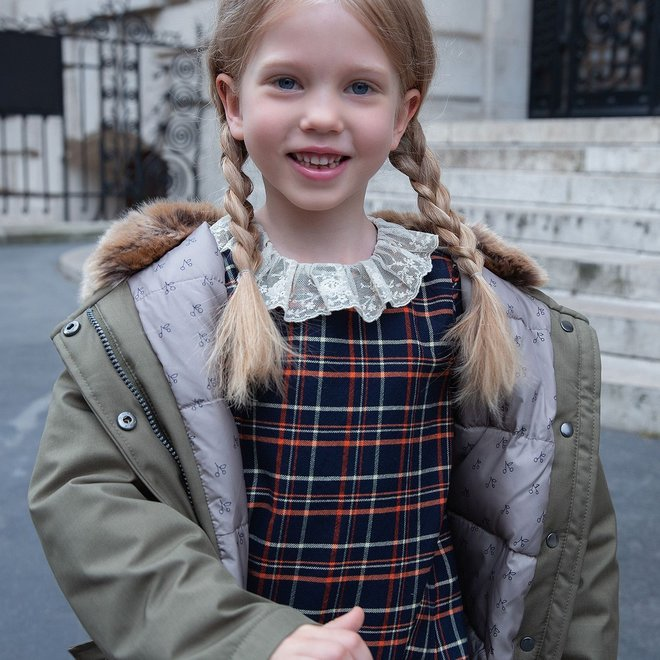 Girls' Dress With Tulle Collar Navy