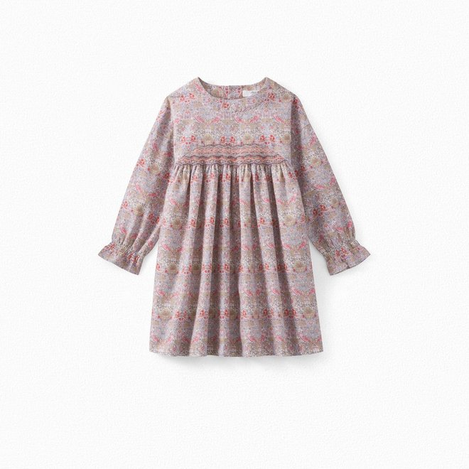 Girls' Liberty Fabric And Wool Dress Pearl