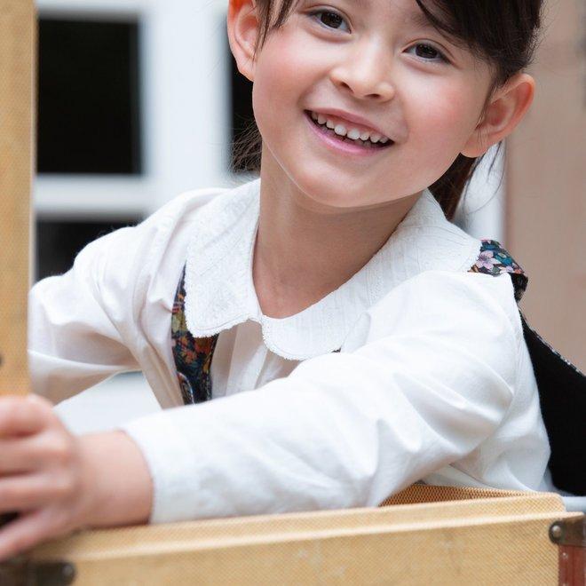 Girls' Peter Pan Collar Blouse Milk White