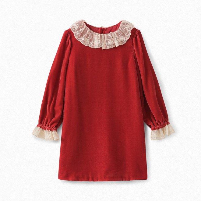 Girls' Silk Velvet Dress Poppy Red