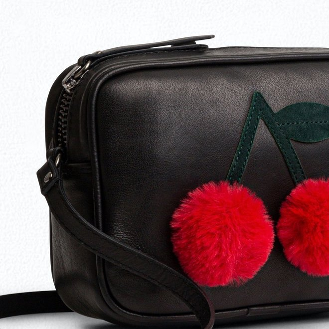 Girls' Bag With Pompom Cherries Black
