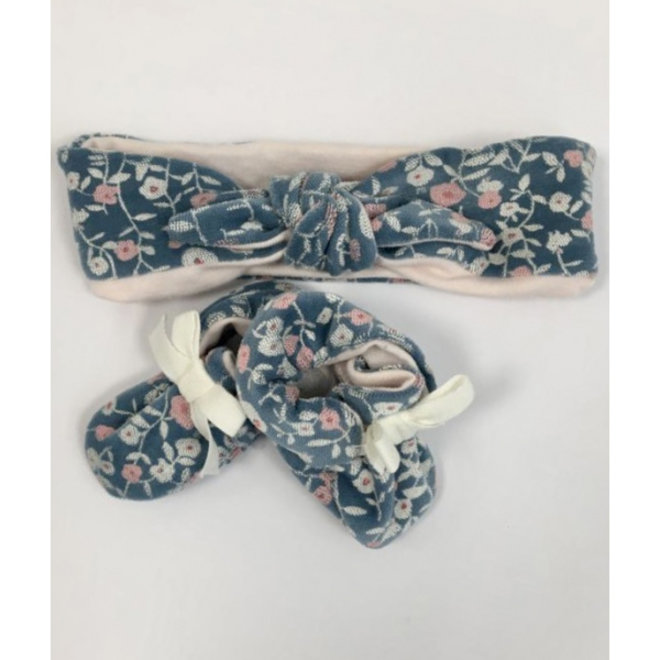 Baby Floral velour bandeau chaussons