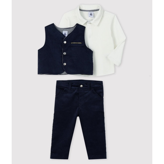 Baby boy's 3-piece set - black/strip/white