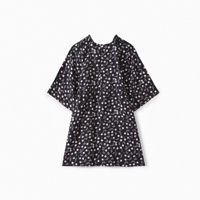 Girls' Cherry Print Twill Dress Navy