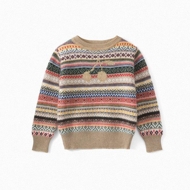Girls' Jacquard Sweater Multicolor Gold