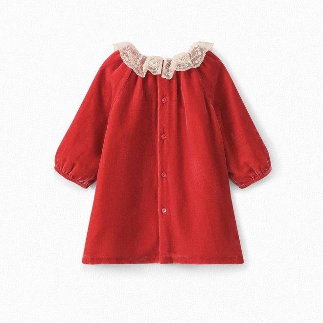 Baby Panne Velvet Dress Poppy Red