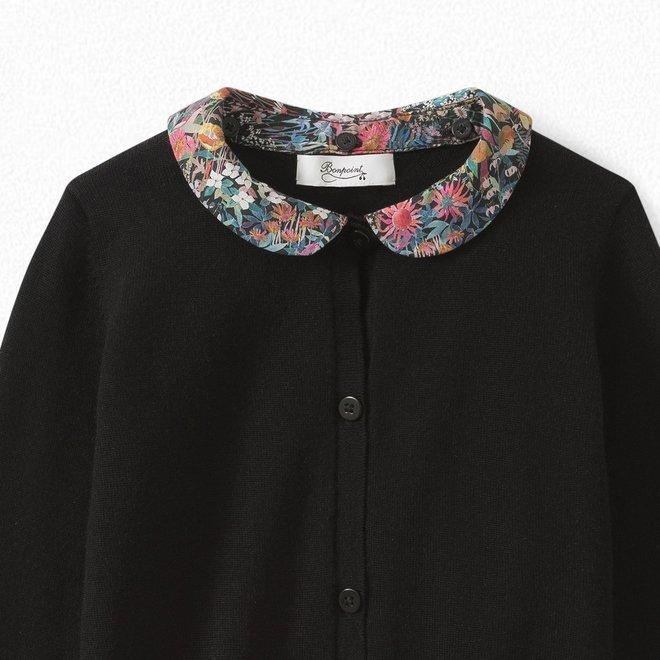 Girls' Merino Wool Cardigan Black
