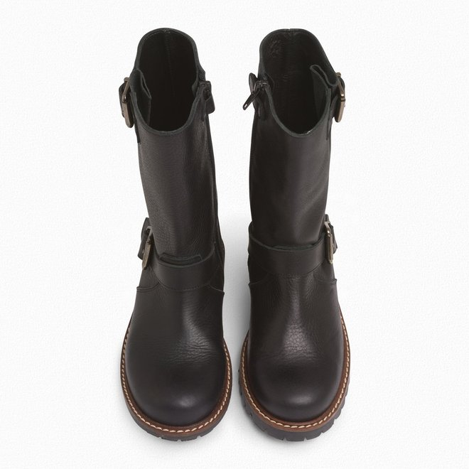 Girls' Leather Biker Boots Black