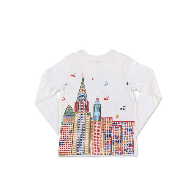 City Landscape Printed Rustic Jersey T-Shirt Milk White