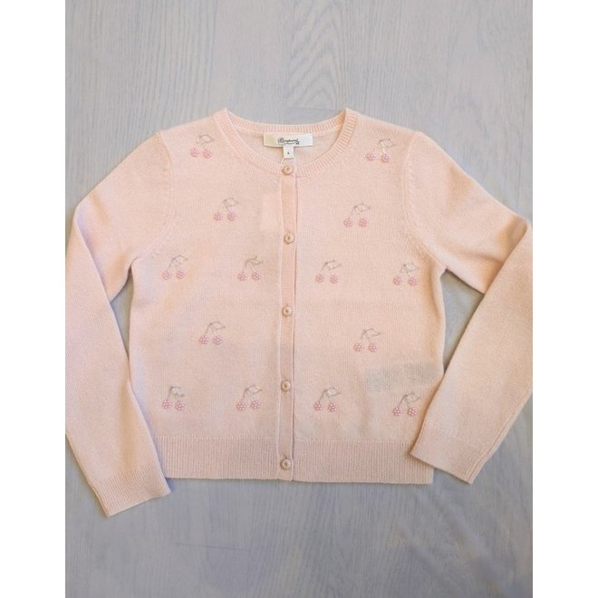 Girls' Embroidered Cashmare Cardigan Pale Pink