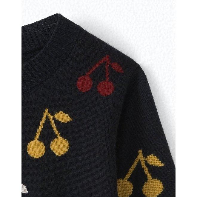 Girls' Intarsia Merino Wool Sweater Navy