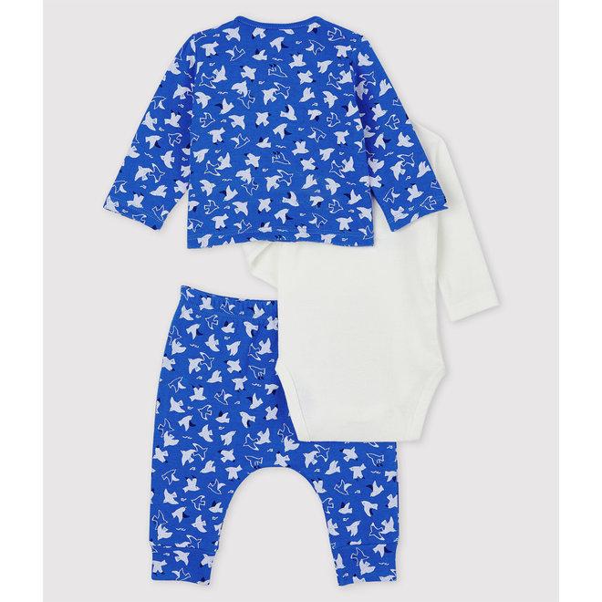 Babies' Blue Organic Cotton Clothing - 3-Pack Blue Bird