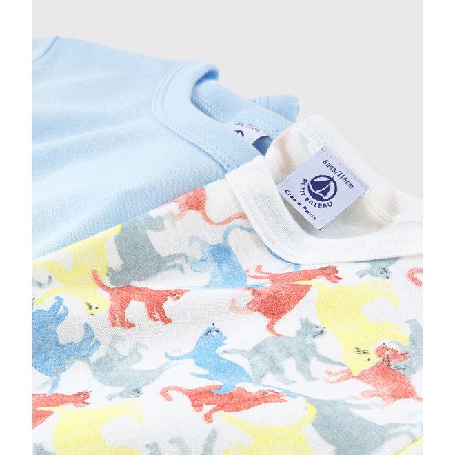 Boys' Short-Sleeved Cat Print Organic Cotton T-Shirt - 2-Pack Dino