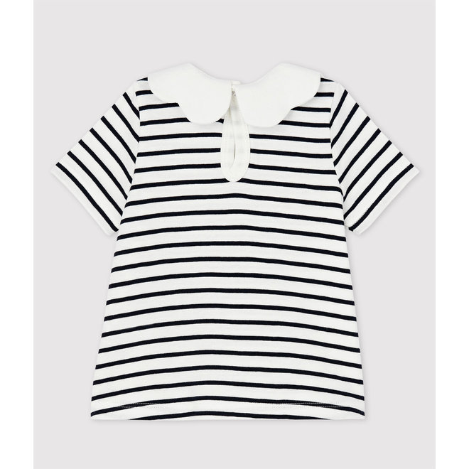 Baby Girls' Short-Sleeved Cotton Blouse Black & White Stripe