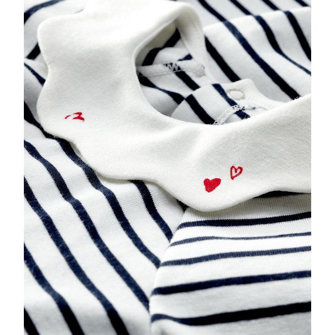 Baby Girls' Short-Sleeved Stripy Rib Knit Dress
