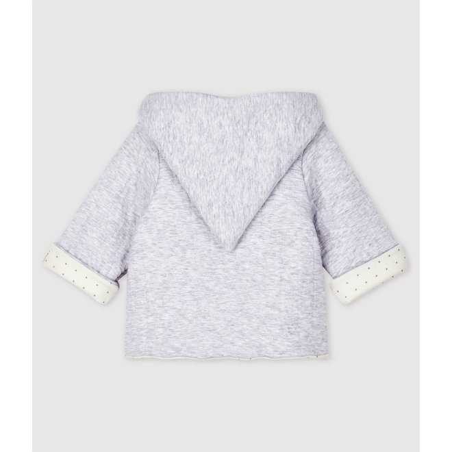 Babies' Grey Hoody In Quilted Organic Cotton Tube Knit