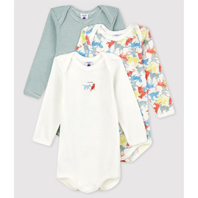 Babies' Colourful Cats Long-Sleeved Organic Cotton Bodysuits - 3-Pack