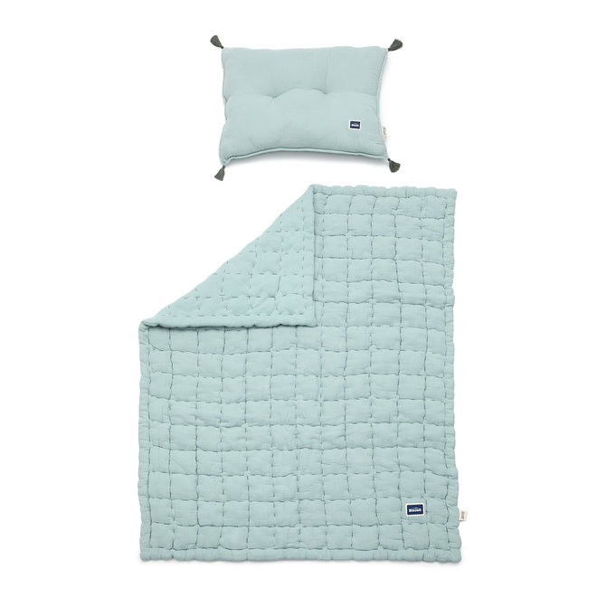 """BISCUIT COLLECTION - MUSLIN 100% COTTON QUILTED BEDDING SET """"L"""" 105x125 cm - MINT"""