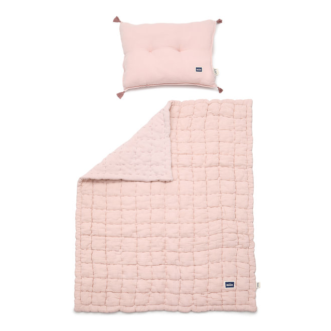 """BISCUIT COLLECTION - MUSLIN 100% COTTON QUILTED BEDDING SET """"L"""" 105x125 cm - POWDER PINK"""