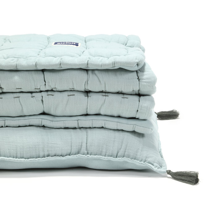 "BISCUIT COLLECTION - MUSLIN 100% COTTON QUILTED BEDDING SET ""M"" 75x95 cm - MINT"