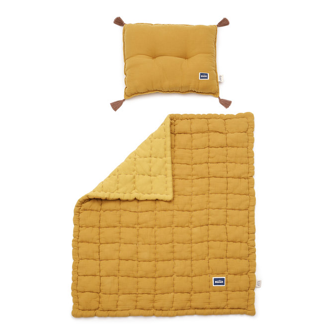 "BISCUIT COLLECTION - MUSLIN 100% COTTON QUILTED BEDDING SET ""M"" 75x95 cm - HONEY"