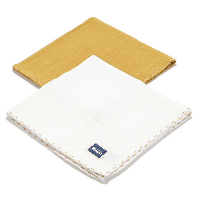 BISCUIT COLLECTION - 2 PACK SMALL MUSLIN SWADDLE 100% COTTON - HONEY & OFF WHITE
