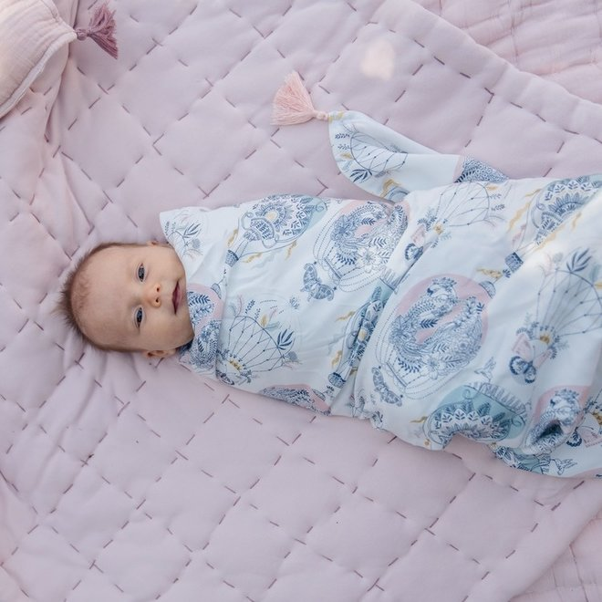 BAMBOO SWADDLE FRINGE - KING SIZE - FRENCH ROSE JARDIN